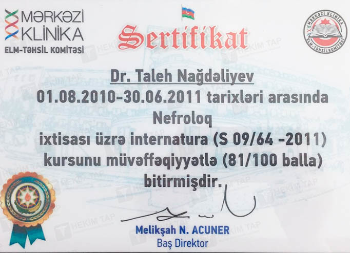 Dimplomlar və sertifikatlar Taleh Nağdəliyev hekimtap.az