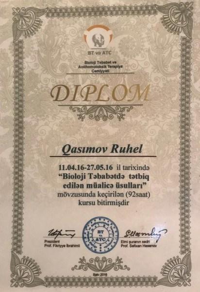 Dimplomlar və sertifikatlar Ruhel Qasımov hekimtap.az
