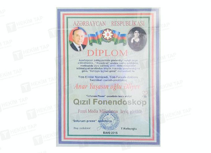 Dimplomlar və sertifikatlar cərrah proktoloq anar əliyev