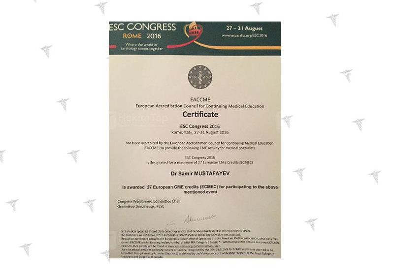 Дипломы и сертификаты Самир  Мустафаев hekimtap.az