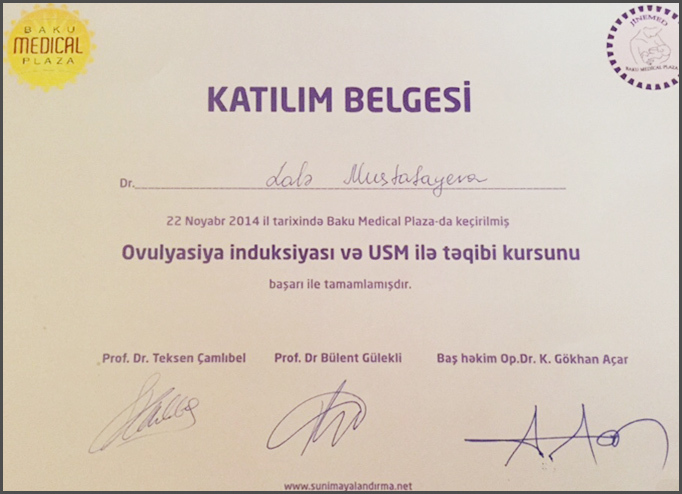 Diplomas and Certificates Lale  Mustafayeva hekimtap.az