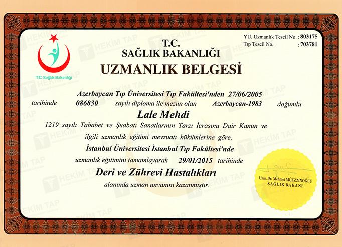 Дипломы и сертификаты Лала Мехти hekimtap.az