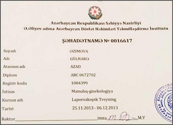 Dimplomlar və sertifikatlar Gülnarə Əzimova hekimtap.az
