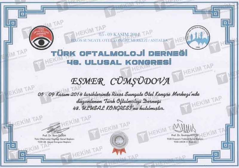 Dimplomlar və sertifikatlar Əsmər Cümşüdova hekimtap.az