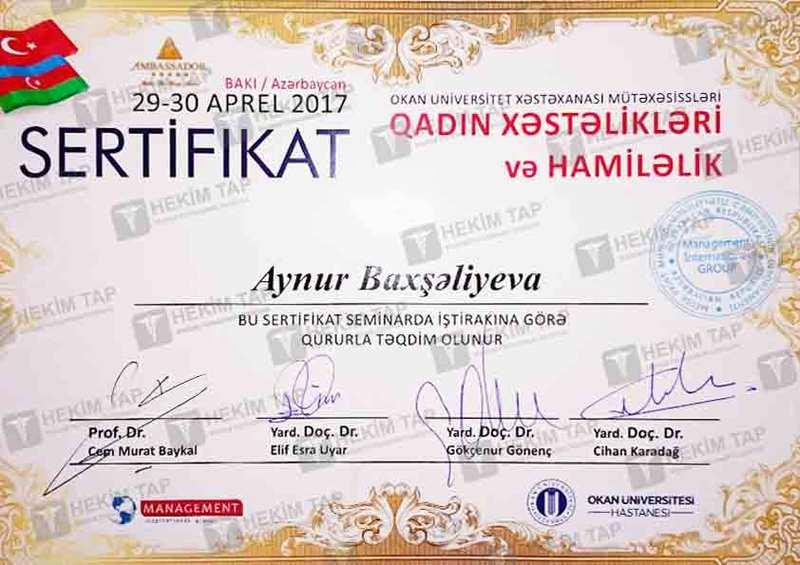 Dimplomlar və sertifikatlar Aynur Baxışəliyeva hekimtap.az