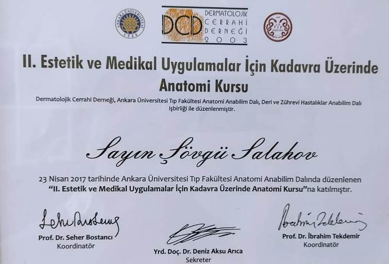 Diplomas and Certificates Şövgü Salahov hekimtap.az