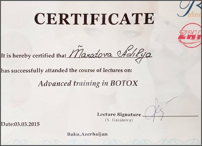 Diplomas and Certificates Adila  Makatova hekimtap.az