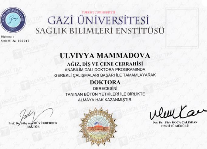 Dimplomlar və sertifikatlar Ülviyyə Məmmədova hekimtap.az