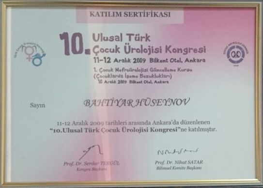 Dimplomlar və sertifikatlar Bəxtiyar Hüseynov hekimtap.az