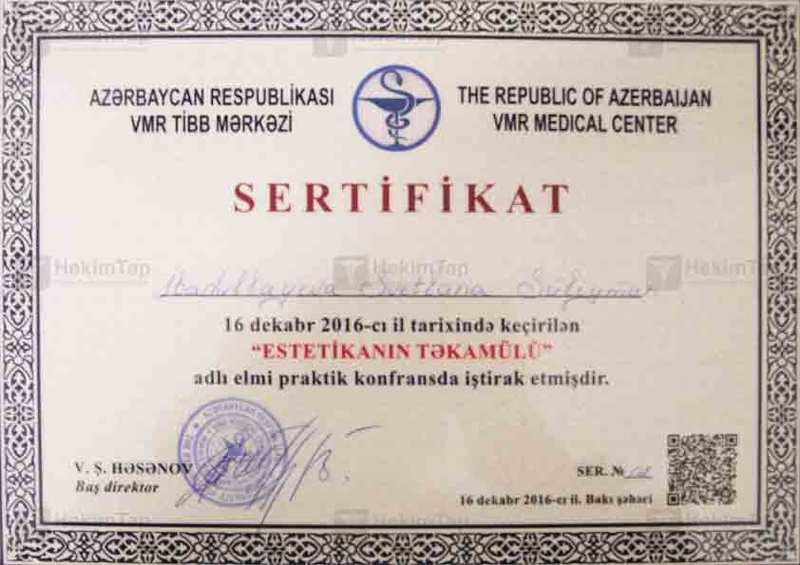 Dimplomlar və sertifikatlar Svetlana İbadullayeva hekimtap.az