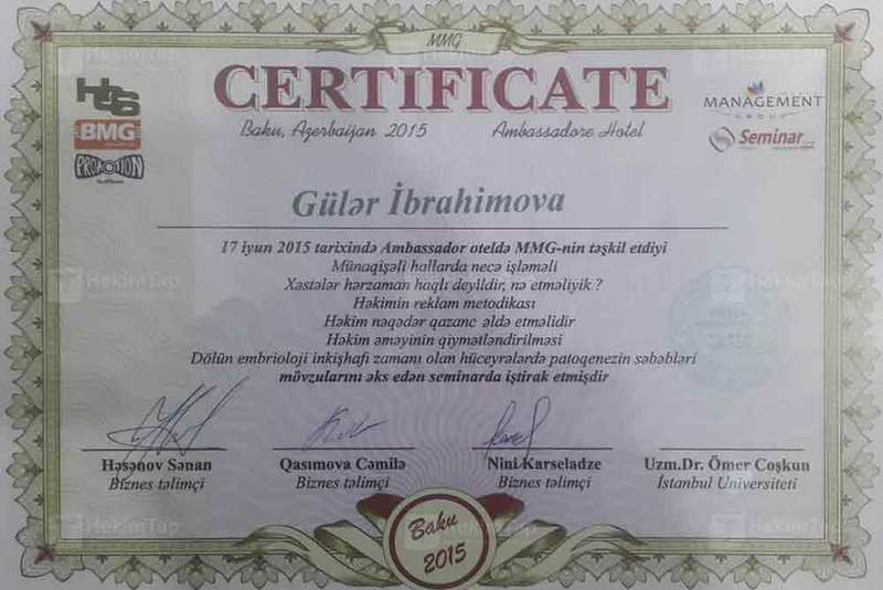 Diplomas and Certificates Guler  Ibrahimova hekimtap.az