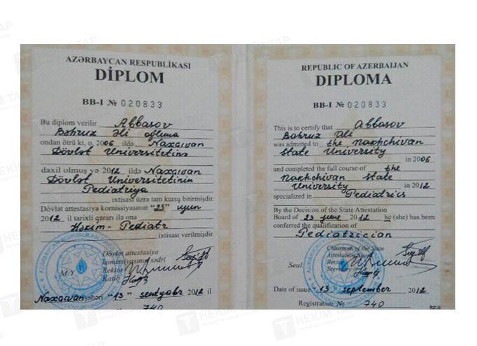 Dimplomlar və sertifikatlar Bəhruz Abbasov hekimtap.az
