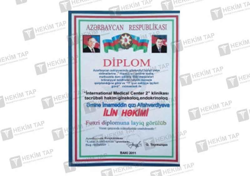 Dimplomlar və sertifikatlar Əminə  Allahverdiyeva hekimtap.az