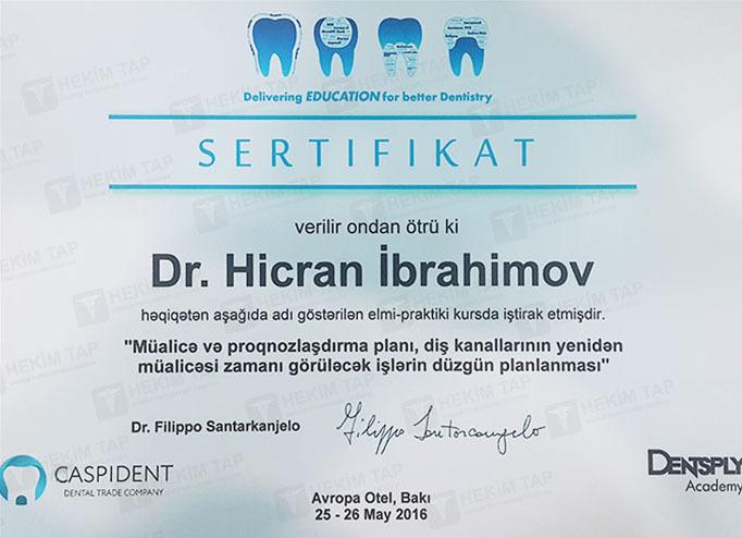 Dimplomlar və sertifikatlar Hicran İbrahimov hekimtap.az