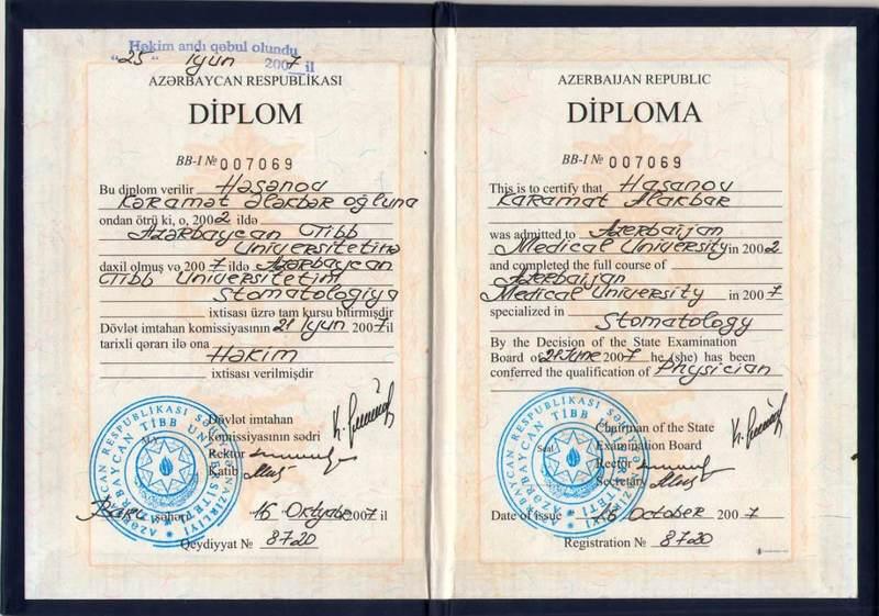 Dimplomlar və sertifikatlar Kəramət Həsənov hekimtap.az