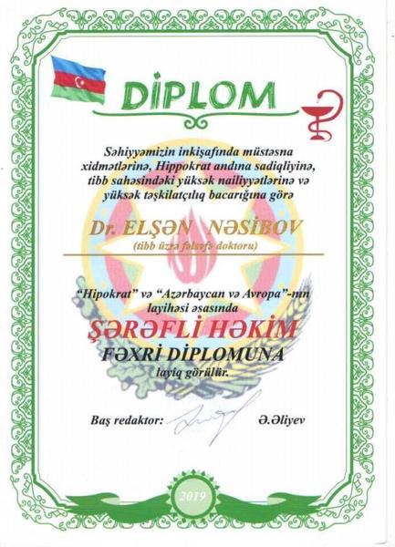 Dimplomlar və sertifikatlar Elşən Nəsibov hekimtap.az