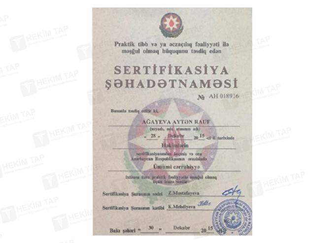 Dimplomlar və sertifikatlar Aytən Ağayeva hekimtap.az
