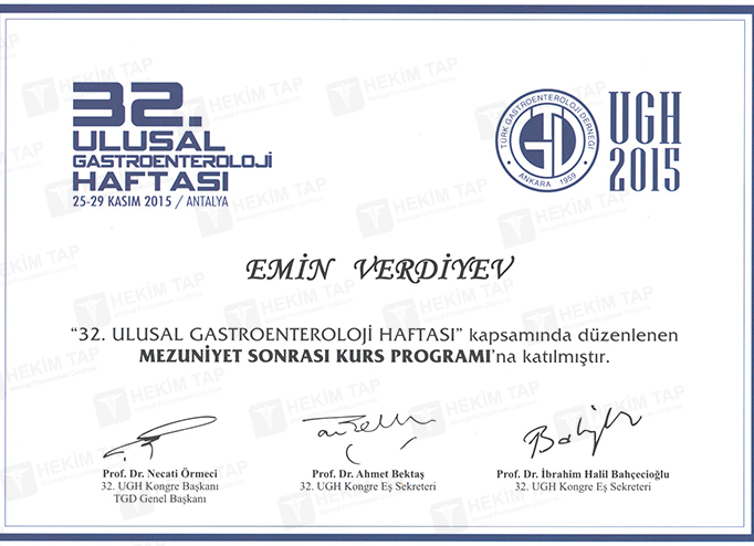 Diplomas and Certificates Emin  Verdiyev hekimtap.az