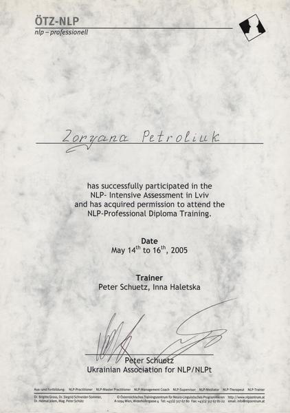 Diplomas and Certificates Zoriana Kruchak doctortap.com.ua