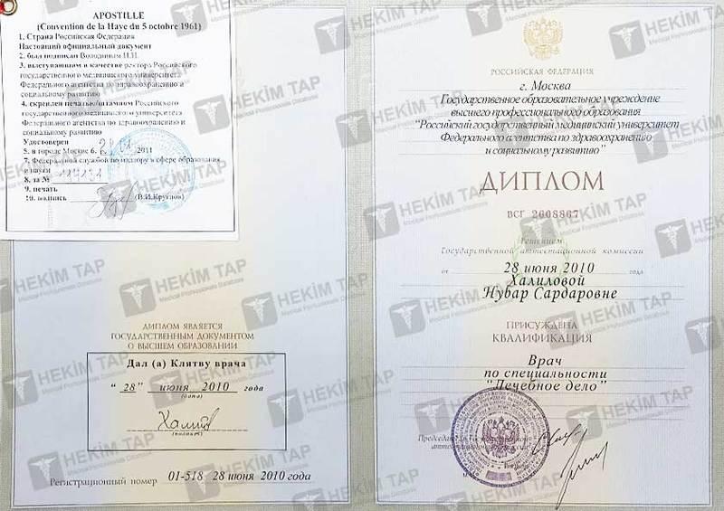 Dimplomlar və sertifikatlar Nübar Xəlilova hekimtap.az