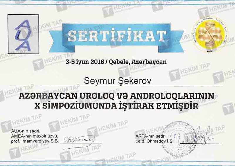 Dimplomlar və sertifikatlar Seymur Şəkərov  hekimtap.az