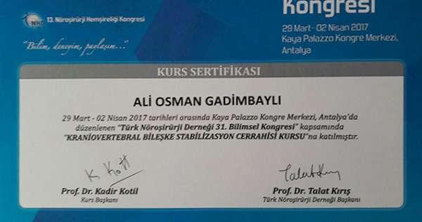 Dimplomlar və sertifikatlar Əliosman Qədimbəyli hekimtap.az