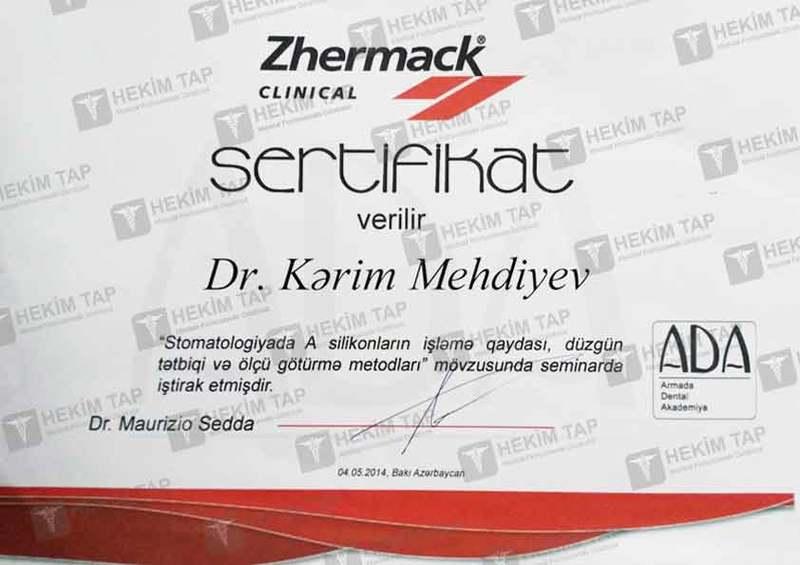 Dimplomlar və sertifikatlar Kərim Mehdiyev hekimtap.az