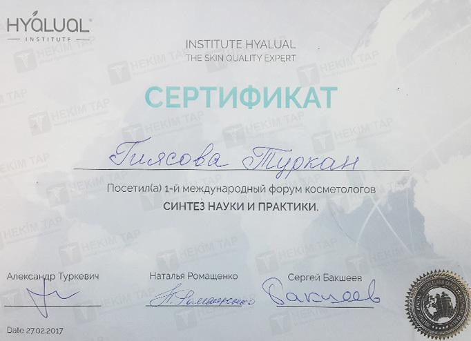 Dimplomlar və sertifikatlar Türkan Qiyasova hekimtap.az
