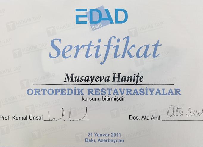 Dimplomlar və sertifikatlar Hənifə Musayeva hekimtap.az