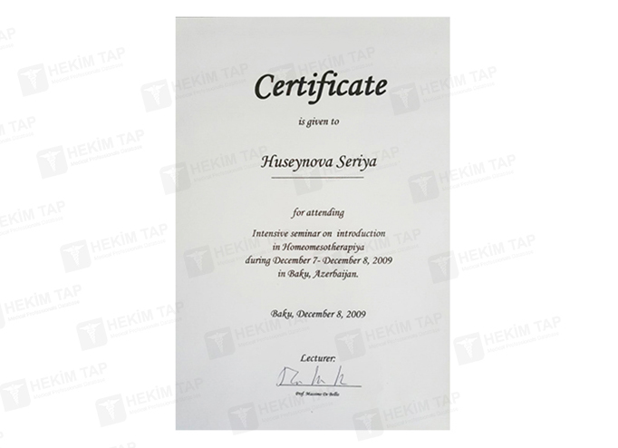 Diplomas and Certificates Seriyye  Huseynova hekimtap.az