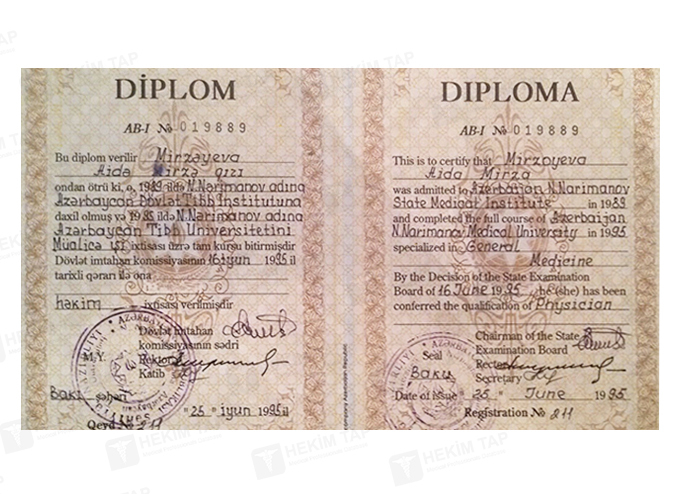 Diplomas and Certificates Aida  Mammadova hekimtap.az