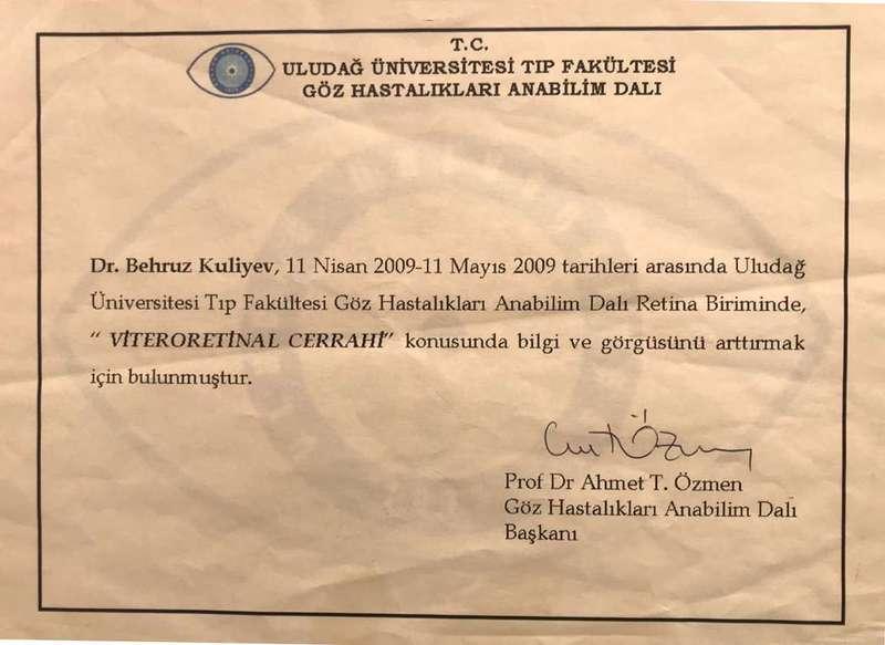 Dimplomlar və sertifikatlar Oftalmoloq Bahruz Quliyev