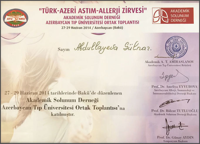 Dimplomlar və sertifikatlar Gülnar Abdullayeva hekimtap.az