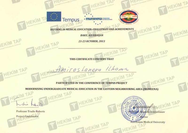 Dimplomlar və sertifikatlar İlhamə Əmiraslanova hekimtap.az