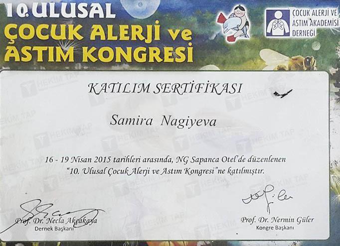 Dimplomlar və sertifikatlar Samirə Nağıyeva  hekimtap.az