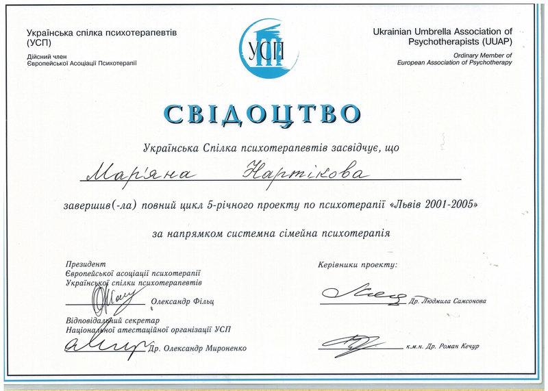 Дипломи і сертифікати Мар'яна Нартікова doctortap.com.ua