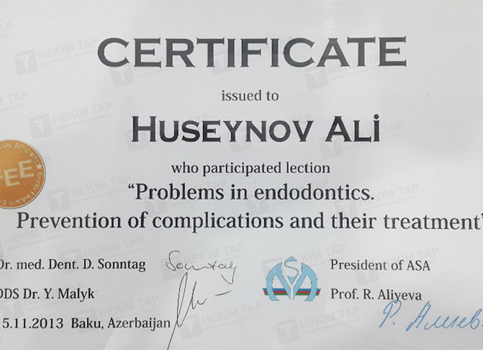 Dimplomlar və sertifikatlar Əli Hüseynov hekimtap.az