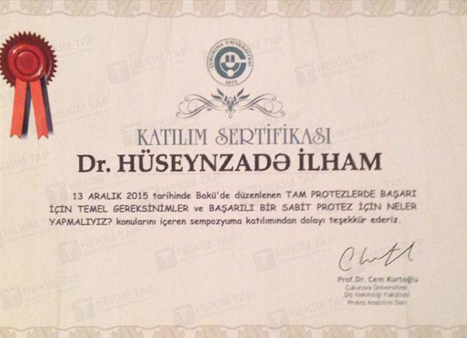 Dimplomlar və sertifikatlar İlham Hüseynzadə hekimtap.az