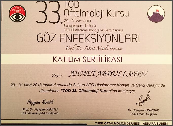Dimplomlar və sertifikatlar Əhməd Abdullayev hekimtap.az