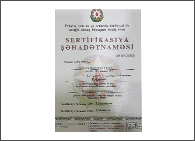 Dimplomlar və sertifikatlar Şəkürə Hacıyeva hekimtap.az