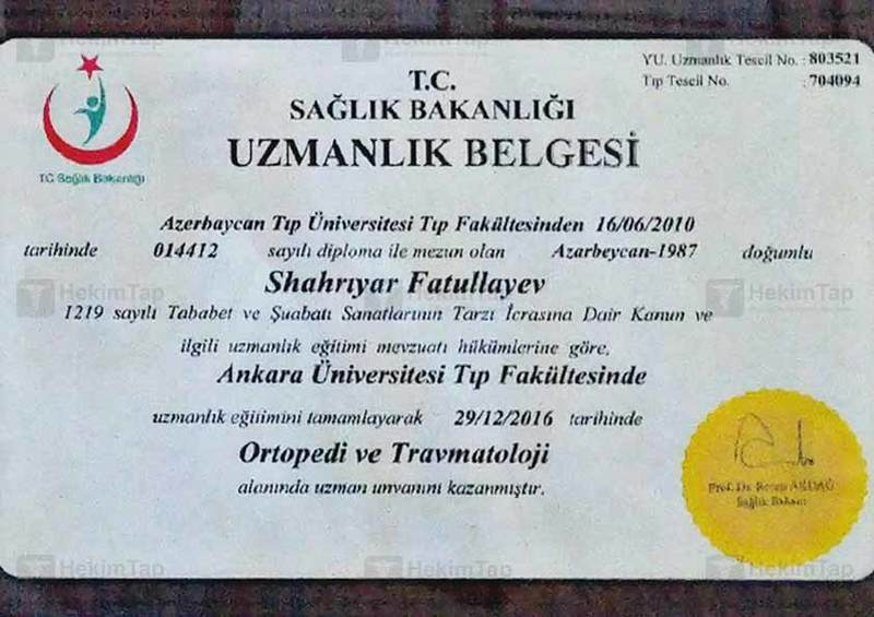 Dimplomlar və sertifikatlar travmatoloq-ortoped şəhriyar fətullayev