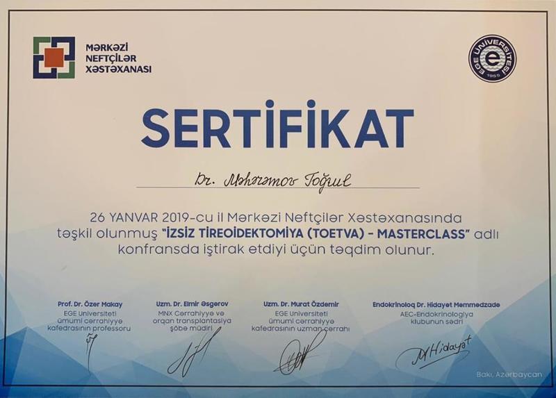Diplomas and Certificates Togrul Magerramov hekimtap.az
