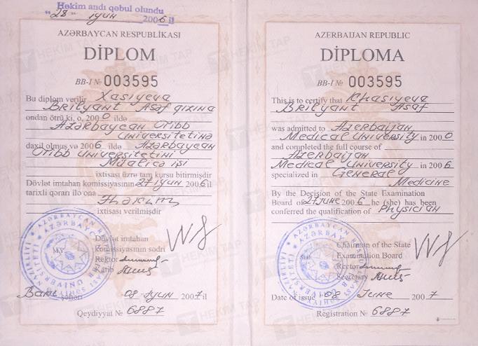 Dimplomlar və sertifikatlar Bella Xasıyeva hekimtap.az