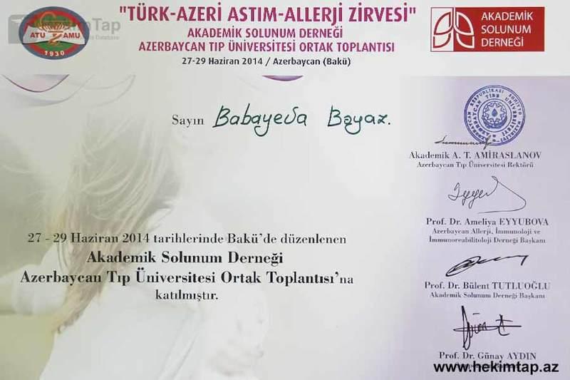 Dimplomlar və sertifikatlar Bəyaz Babayeva hekimtap.az