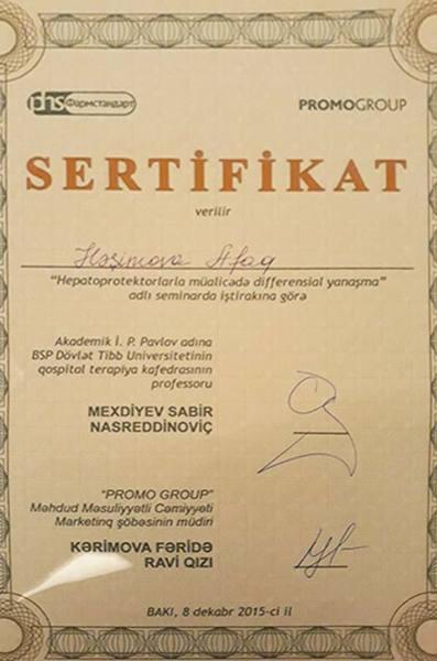 Dimplomlar və sertifikatlar Afaq Həşimova hekimtap.az
