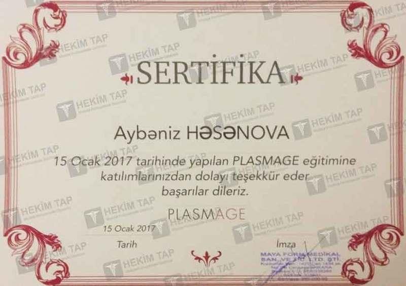 Дипломы и сертификаты Айбениз  Гасанова hekimtap.az