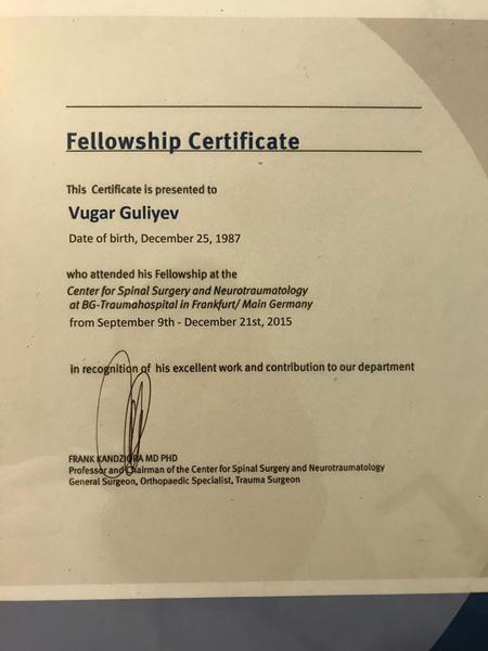 Dimplomlar və sertifikatlar travmatoloq-ortoped vüqar quliyev