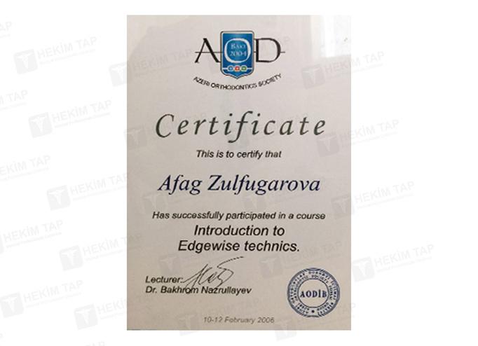 Dimplomlar və sertifikatlar Afaq Zülfüqarova hekimtap.az
