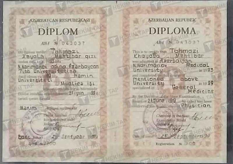 Dimplomlar və sertifikatlar Xəyalə Təhməzi hekimtap.az