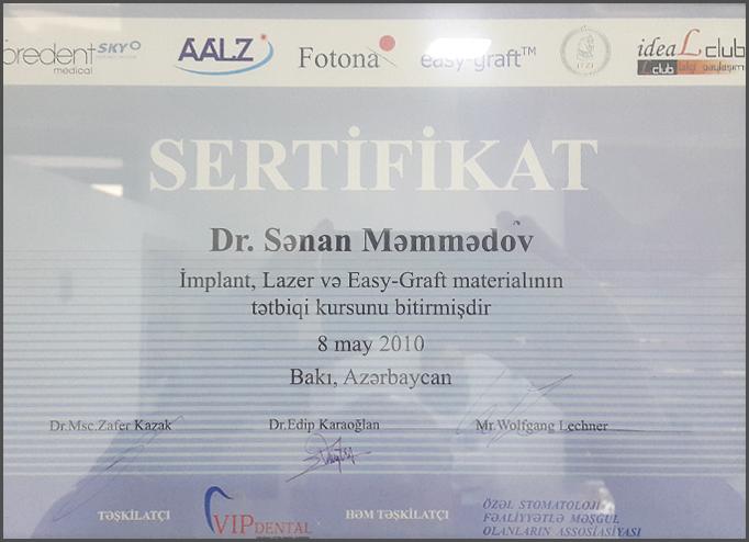 Dimplomlar və sertifikatlar Sənan Məmmədov hekimtap.az